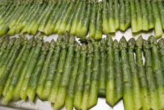 Preparation of an asparagus. Asparagus on kitchen at restaurant Royalty Free Stock Images