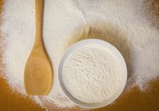 Preparation for baking, wheat  flour on table Stock Photography