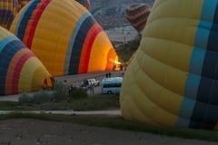 Preparation for balloons take-off Stock Photos