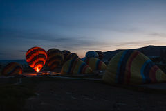 Preparation for balloons take-off Royalty Free Stock Photo