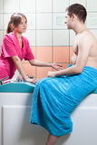 Preparation for balneotherapy Royalty Free Stock Images