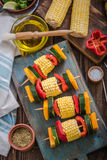 Preparation for barbecue party, vegetable skewers Stock Photo