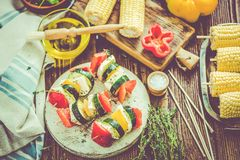 Preparation for bbq garden party. With healthy food royalty free stock image