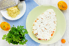 Preparation beautiful Easter salad in shape egg Royalty Free Stock Image