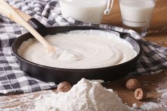 Preparation of bechamel sauce in a pan, horizontal Stock Photography