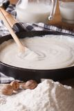 Preparation of bechamel sauce in a pan, vertical Stock Images