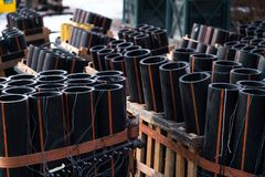 Preparation of big firework show with tubes with gunpowder and electric wire. Preparation of big firework show with tubes filled with gunpowder and electric wire stock images