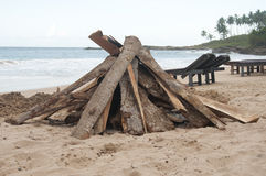 Preparation for a Bonfire at the Beach Royalty Free Stock Images