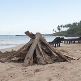 Preparation for a Bonfire at the Beach Royalty Free Stock Photos