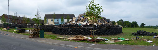 Preparation of Bonfire. Bonfire build in progress, for 'the 12th' celebrations in Northern Ireland. A multitude of car tyres will be burned. Pollution Stock Image
