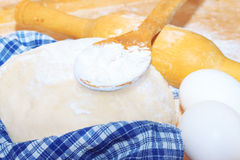 Preparation of bread with ingredients Stock Photos