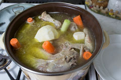 Preparation of broth. stock image