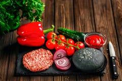 Preparation of burger Stock Image