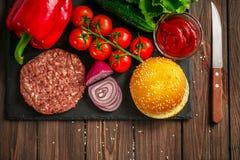 Preparation of burger Royalty Free Stock Photo