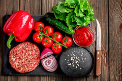 Preparation of burger Stock Images