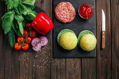 Preparation of burger Stock Photo