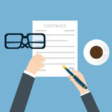 Preparation business contract. Vector illustration Stock vector Stock Photos