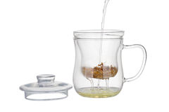 Preparation of the chamomile tea. Stock Photo