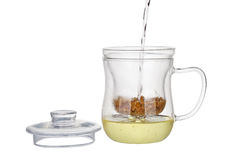 Preparation of the chamomile tea Royalty Free Stock Image