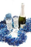 Preparation of champagne for Christmas Royalty Free Stock Photos