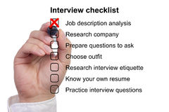 Preparation checklist for a job interview Royalty Free Stock Images