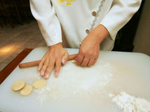 Preparation of Chinese dumplings Royalty Free Stock Photography