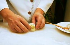 Preparation of Chinese dumplings Stock Photo