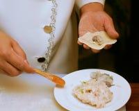 Preparation of Chinese dumplings Royalty Free Stock Image