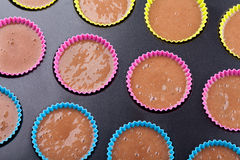 Preparation of chocolate muffins Royalty Free Stock Photography