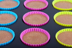 Preparation of chocolate muffins Stock Photos
