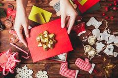 Preparation A Christmas Gift Box Stock Photo - Image: 71306975