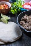 Preparation of classic street food burritos Royalty Free Stock Image