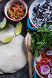 Preparation of classic street food burritos Royalty Free Stock Photos