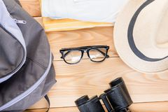 Preparation of clothes and accessories for travel, objects on th. E boards from above Stock Images