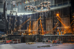 Preparation for a concert. Technical preparation for the big concert indoors. Backstage stock photo