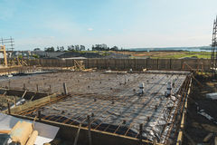 Preparation for concreting foundation of the house Royalty Free Stock Images