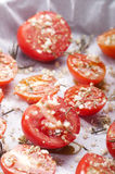 Preparation of confit tomatoes Stock Photography