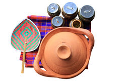 Preparation and cooking pots. On white background royalty free stock image