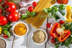 Preparation for cooking spaghetti Royalty Free Stock Photography