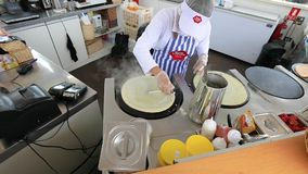 preparation of crepes stock footage