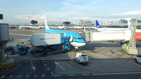 Preparation for the departure of KLM aircraft at Schiphol airport. Amsterdam. AMSTERDAM, NETHERLANDS - SEPTEMBER 17, 2017: Preparation for the departure of KLM stock video