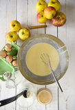 Preparation of the dough for apple pie Stock Photos