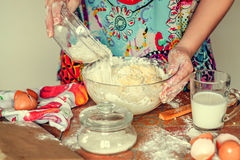 Preparation of the dough. Preparation of dough for baking royalty free stock photography