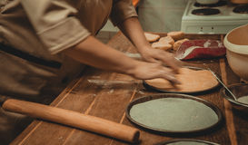 Preparation of dough for a cake Stock Image