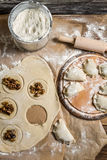 Preparation of the dough for homemade dumplings Royalty Free Stock Image