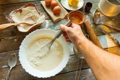 Preparation of the dough Stock Photo