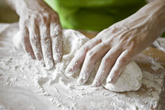 Preparation of the dough for vareniks Royalty Free Stock Photos