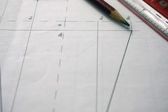 Preparation for drafting documents, drawings, tools and diagrams on the table stock photos
