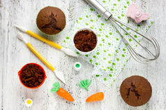 Preparation of Easter dessert in a bucket of chocolate cake with