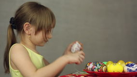 Preparation of Easter eggs, the feast of the passover. Decorating Easter eggs lacy cloth stock video